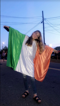 Pictured here is my friend with a Celtic flag of her own
