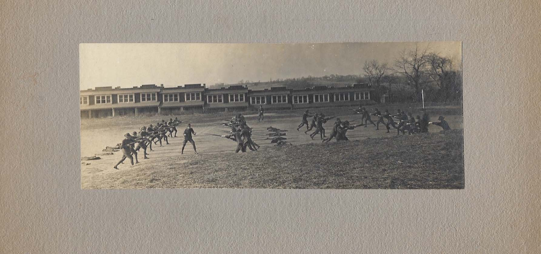 The Moravian College Student Army Training Corps in 1917 performing training maneuvers on the location of where Johnston Hall now stands.