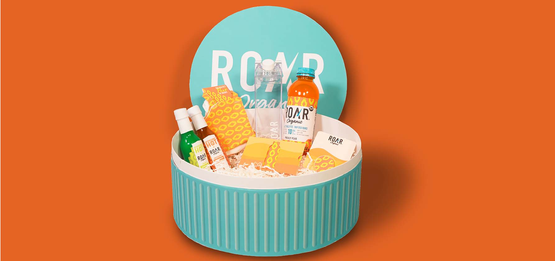 The packaging created for the Roar Organics brand by graphic design students Trey Adams '21 and Skylar Vaughan '21.