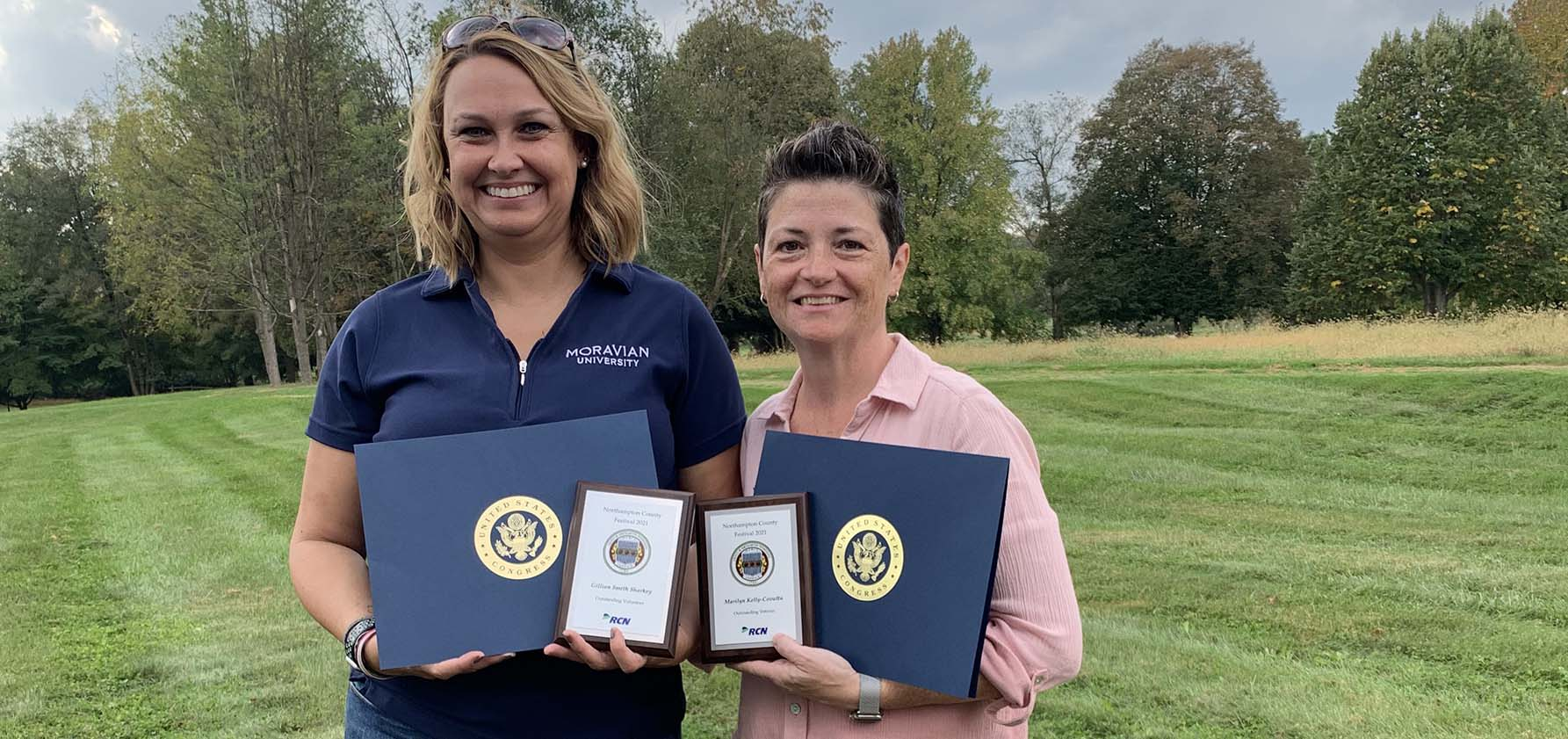 At the Northampton County festival, Gillian Sharkey (left) and Marilyn Kelly-Cavotta received awards for their service to the county.