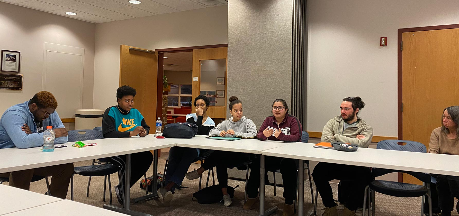 Students discussing life as a minority at a recent roundtable.