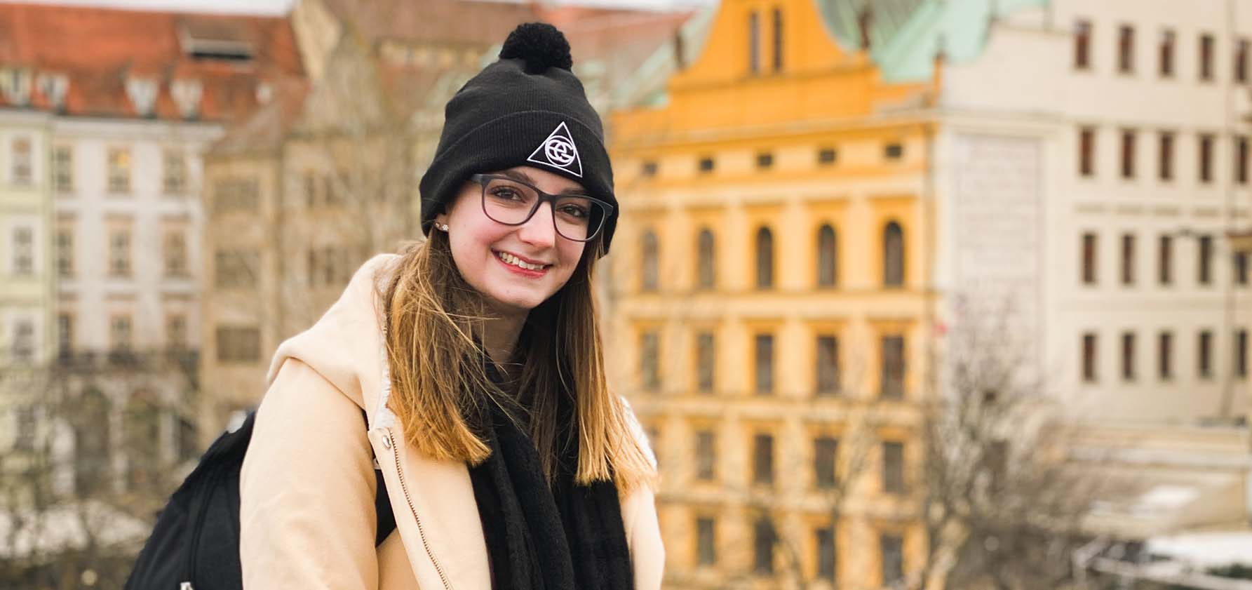 Kylie Norwood enjoys the view of historic buildings in the Czech Republic.