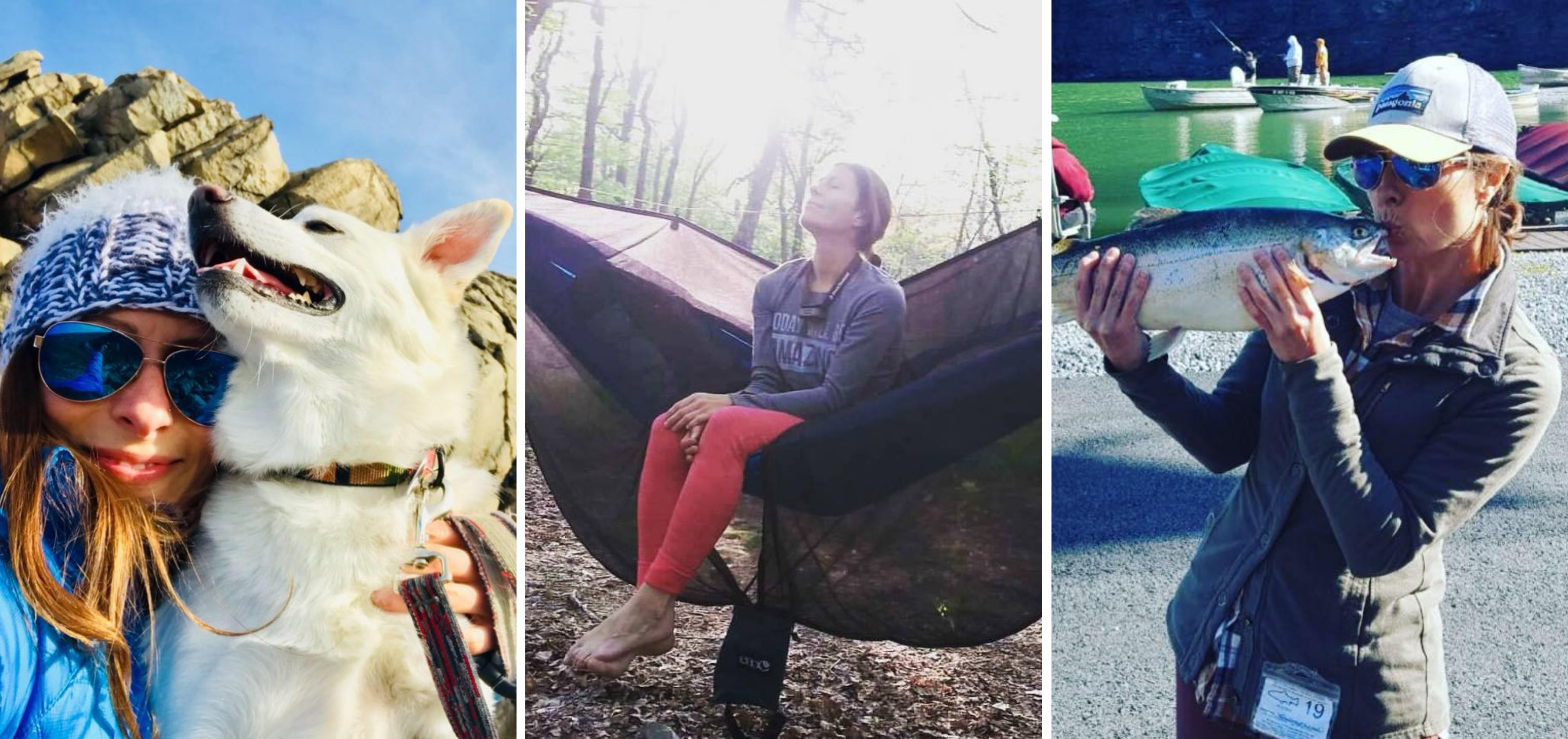 Leah Naso enjoys the outdoors with her dog, on a hammock, fishing in a lake.
