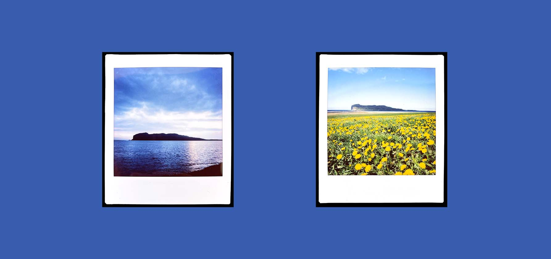 Two photographs taken in Iceland in June 2021when Susan Morelock was artist in residence at the Baer Art Center.