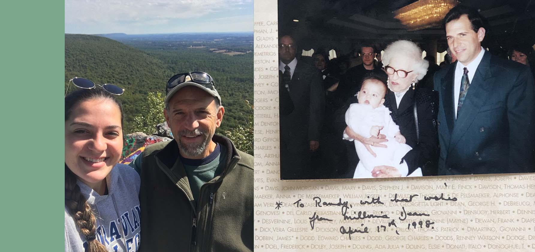 Left, Randy Haffling hiking with his daughter; right, Randy and baby Stephanie meet the last living survivor of the Titanic, Millvina Dean.