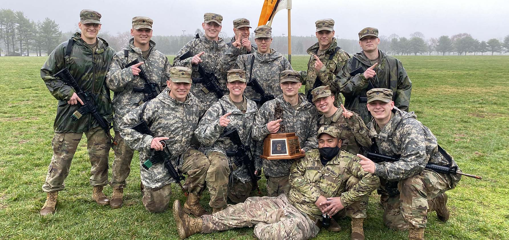 Members of the Steel Battalion Army ROTC are gathered on Lehigh University's campus.