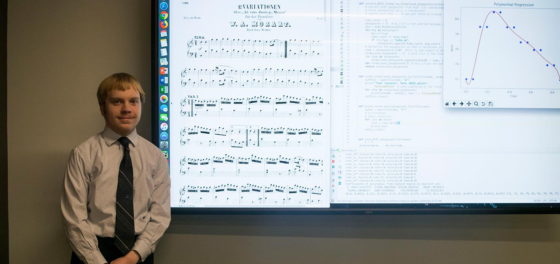 Steven Berger '20 presents his research into the mathematics of music at the Moravian College Math Conference.