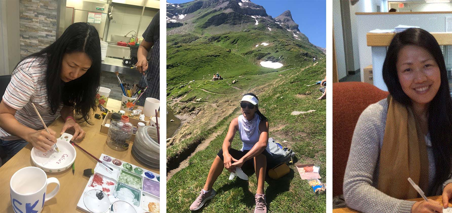 From left to right: Yosung Song, assistant professor of education, works on art projects with students in the classroom, taking a break on a mountainous hike, working in her office at Moravian College.