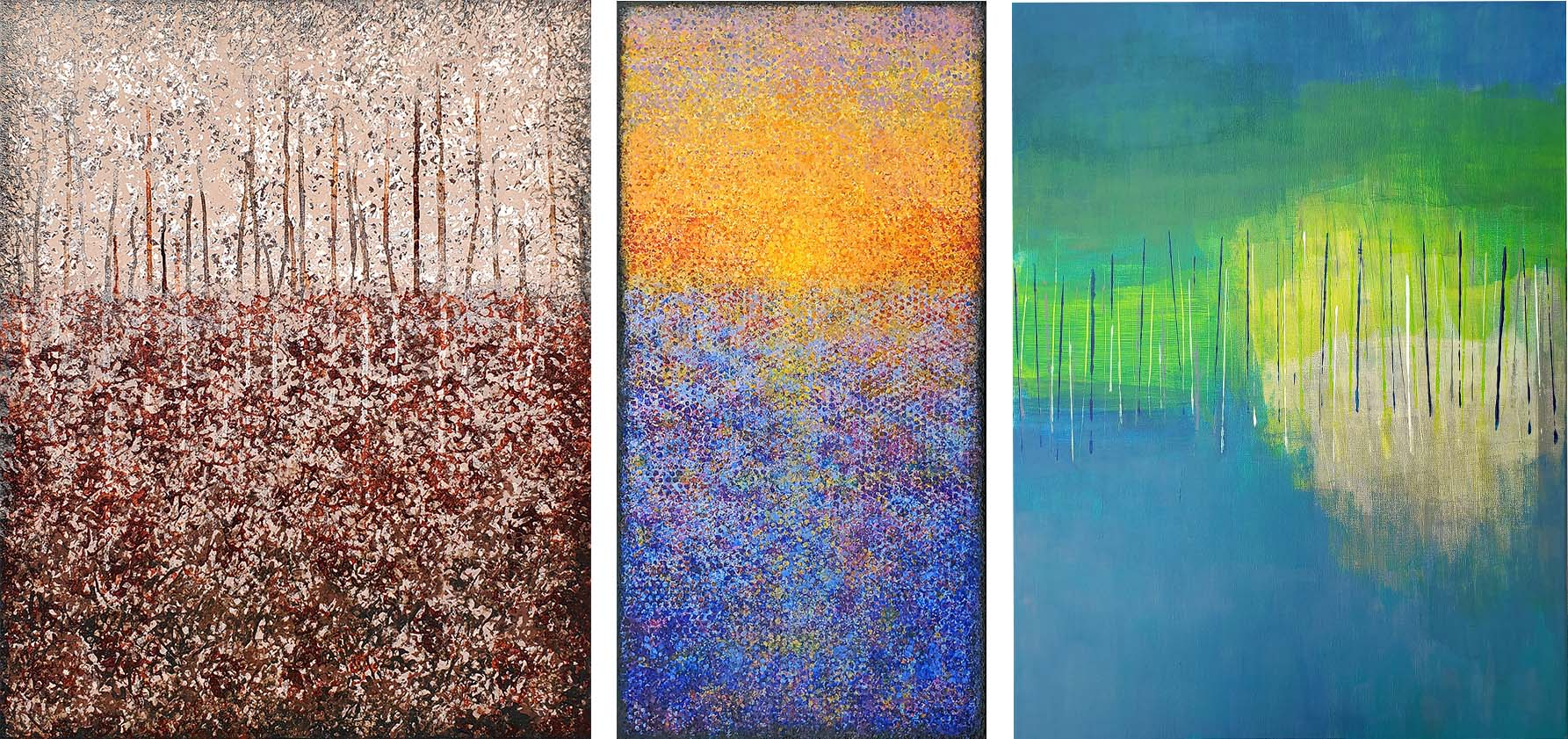 Three abstract paintings by Colleen Brand '01.