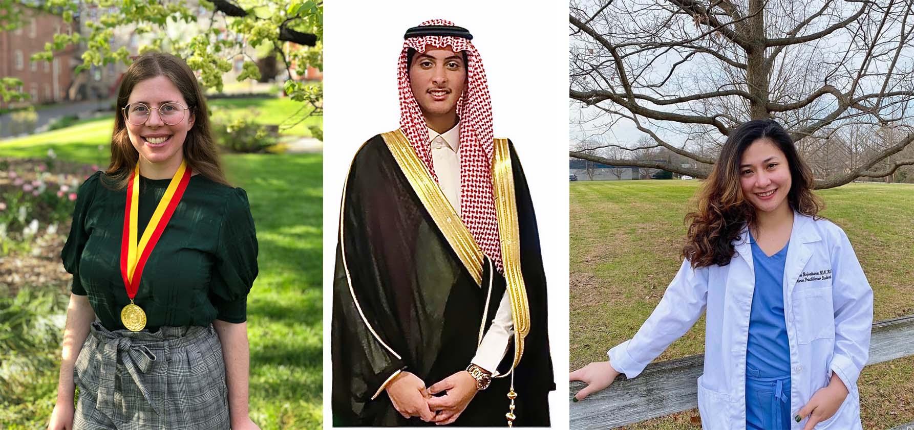 Phi Beta Delta inductees (from left to right): Lara Slabber '21, Turki Mohammed Alrashidi '22, and Natcha Rojrattana '17, G'21.