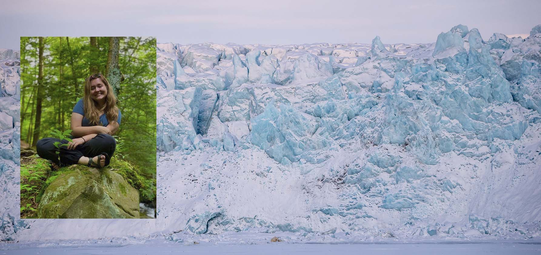 A photo of Chelsea Hill '21 in the woods superimposed on an image of a glacier; a polar bear is barely visible at its base.l