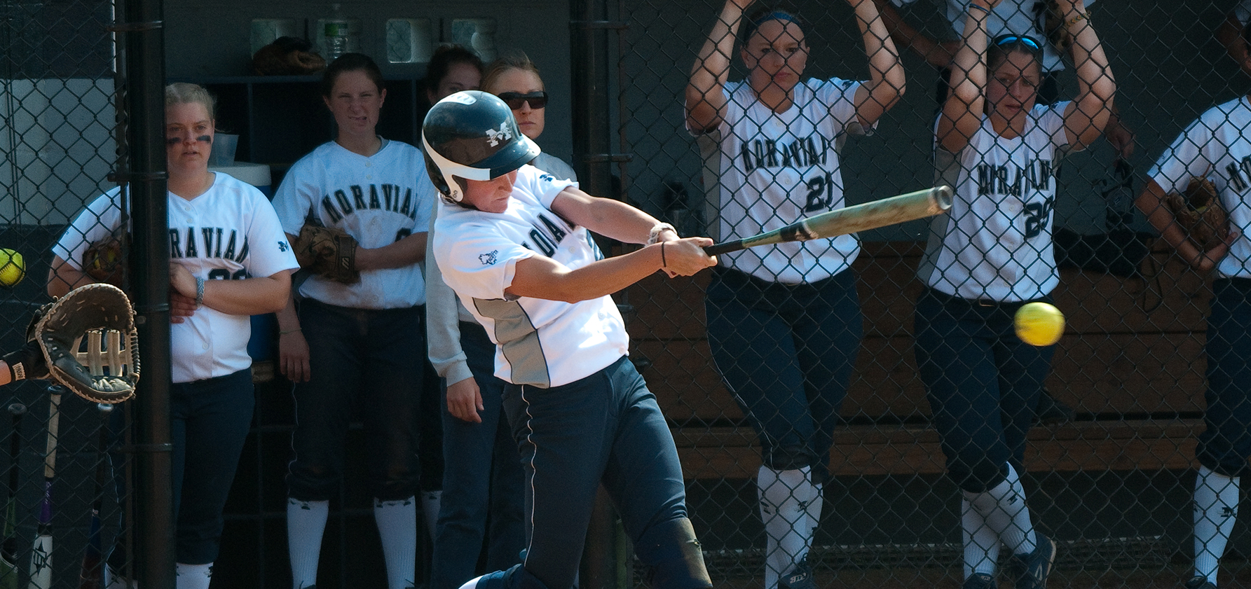 Softball player at bat