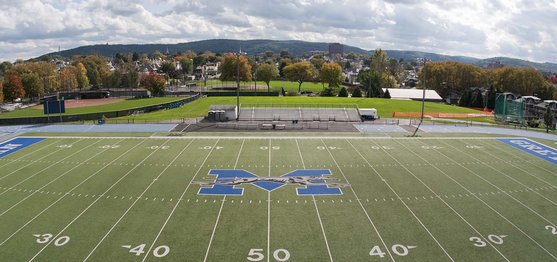 A view overlooking the Steel Field Athletics Complex includes South Mountain in the distance.